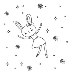 cute little bunny ballet design vector image vector image