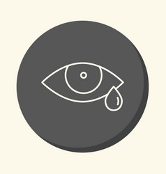 Eye and tear round icon with the vector