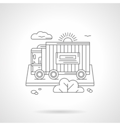 Freight car detailed line vector