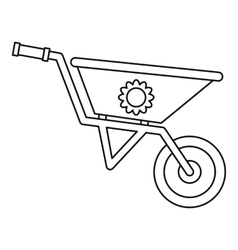 Gardening wheelbarrow icon outline style vector
