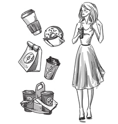 Girl having a snack vector image vector image