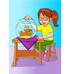 Girl with her pet vector