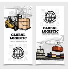 Global logistics vertical banners vector