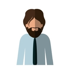 Half body man with beard and tie and middle shadow vector