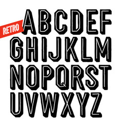 handmade retro font black dot inline condensed vector image vector image