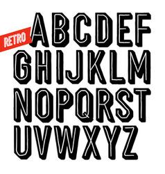 Handmade retro font black dot inline condensed vector