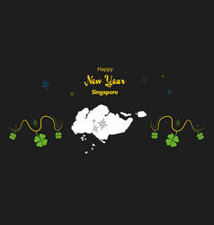 Happy new year theme with map of singapore vector