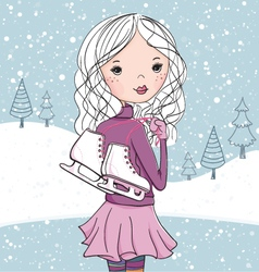 Ice skating girl vector