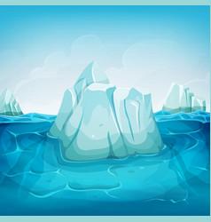 Iceberg inside ocean landscape vector