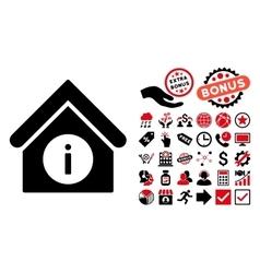 Info building flat icon with bonus vector