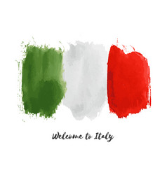 Italy watercolor national country flag icon vector