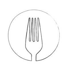 Monochrome blurred contour of sketch of fork in vector