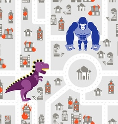 Monsters to destroy city seamless pattern godzilla vector