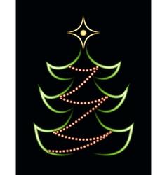 Neon christmas tree vector
