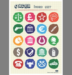 Order law and heraldic web icons set vector