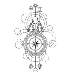 Outline compass symbol vector