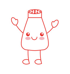 Salt shaker kawaii character vector