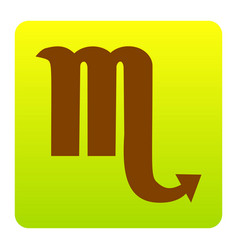 Scorpio sign brown icon at vector
