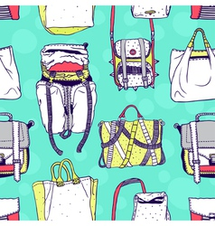 Seamless pattern with original bags vector image