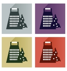 Set flat icons with long shadow grater and vector