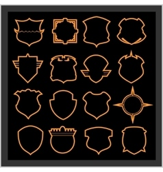 Shield frames icons set - vintage heraldic shields vector image