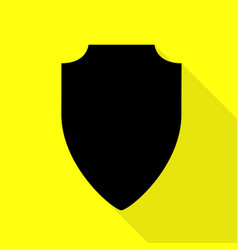Shield sign black icon with flat vector