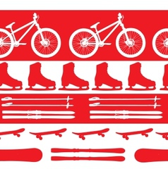 sports Equipment silhouette seamless pattern vector image