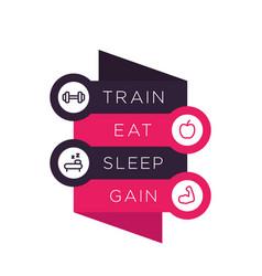 Train eat sleep poster for gym vector