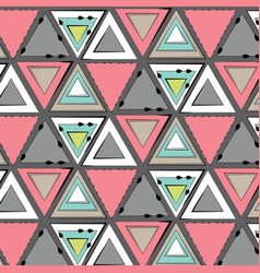 Tribal pink green grey pattern simple vector