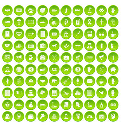 100 donation icons set green vector