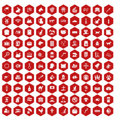 100 pets icons hexagon red vector image
