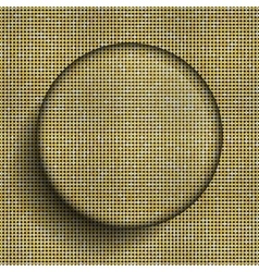 Glass circle button on shiny gold sequins vector