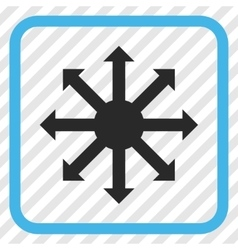 Radial arrows icon in a frame vector