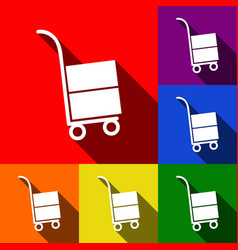 Hand truck sign  set of icons with flat vector