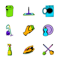 mopping icons set cartoon style vector image