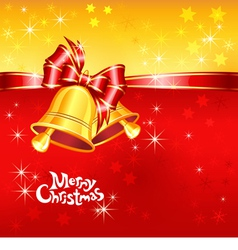 Greeting card with christmas bells vector