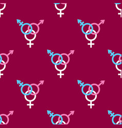 Seamless pattern with trans gender sign on dark vector