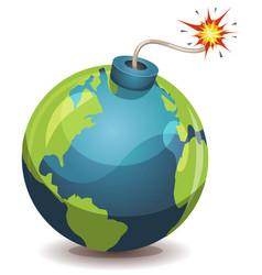 earth planet warning bomb vector image