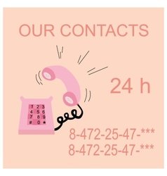 Pink caller phone  contacts vector