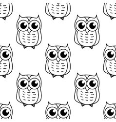 Doodle owl seamless pattern vector