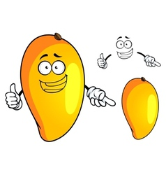 Cartoon yellow mango fruit character vector