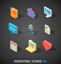 Flat isometric icons set 4 vector