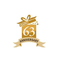 63 years gift box ribbon anniversary vector