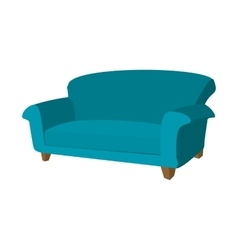Blue sofa cartoon icon vector