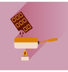 Flat with shadow icon chocolate fondue on bright vector