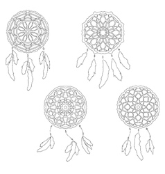 Set of zentangle style dreamcatchers tribal vector