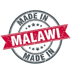 Made in malawi red round vintage stamp vector