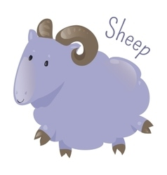 Sheep isolated sticker for kids child fun icon vector