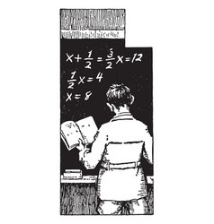 Algebra problem on the chalkboard or parts of vector