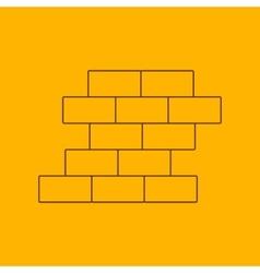 Brick wall line icon vector
